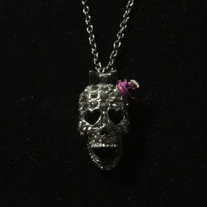 Skull with Bow and Rose Necklace